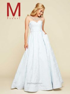 White, sheer top, sweetheart neck, fit and flare, floor length gown.  76959H | Mac Duggal  https://www.macduggal.com/Prom-Dresses/Ball-Gowns