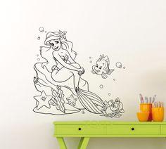 Pas cher Ariel Sirène Sticker Princesse Flet Sebastian Dessins Animés Vinyle…