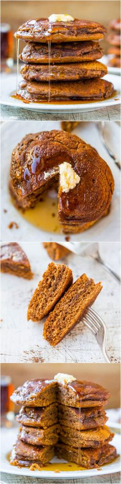 Soft and Fluffy Gingerbread Pancakes with Ginger Molasses Maple Syrup - Pancakes that taste like gingerbread cookies! Easy recipe at averiecooks.com