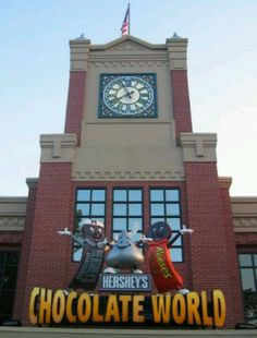Hershey, Pennsylvania i use to live near hershey, so i visited chocolate world often. i would also drive past hershey going to and from work and smell chocolate all the time and it would make me hungry for it! Oh The Places You'll Go, Places To Travel, Places Ive Been, Places To Visit, Chocolate World, Hershey Chocolate, Chocolate Lovers, Chocolate Heaven, Dream Vacations