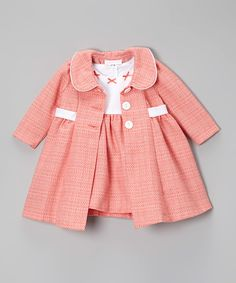 Loving this Peach & White Bow Bouclé Dress & Swing Coat - Infant & Toddler on #zulily! #zulilyfinds