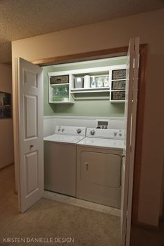 """This is what my laundry """"room"""" looks like!  A laundry closet!  I need to make mine more functional and pretty!"""