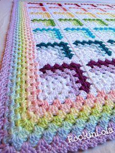 "manta arco iris arco iris pastel bebé Manta manta ""rainbow baby blanket - pastel rainbows baby blanket - crochet baby blanket - handmade by RockinLola"", Crochet Afghans, Crochet Quilt, Baby Afghans, Crochet Granny, Crochet Stitches, Baby Blankets, Crochet Square Patterns, Crochet Squares, Crochet Blanket Patterns"
