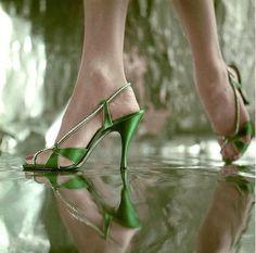 Henry Clarke, Vogue 1953 - strappy green stiletto sandals