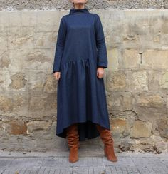 Blue Wool Maxi dress, Elegant Dress with pockets, Midi dress, Maxi Dress, Plus size dress,Party dress,Fall winter dress, Trendy dress