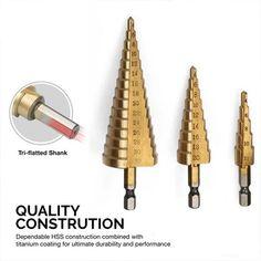 3Pcs HSS Step Cone Drill Titanium Bit Set Hole Cutter 3 mm à 20 m Avec pochette Y