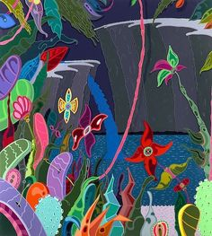 Take us to Erik Parker's vibrant tropical dreamscape... #urbanoutfitters