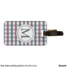 Red, white and blue plaid luggage tag