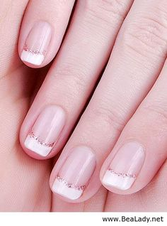 Soft French manicure with rose gold glitter                                                                                                                                                      More