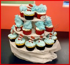 Thing 1 and Thing 2 cupcakes-red velvet cake, red cupcake liners, white icing, blue cotton candy, labels!