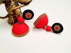 Handmade polymer clay chain jhumka/ jhumki earrings by Vibgyour