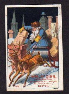 1800's BLUE COAT SANTA CLAUS*WM ZINN RETAIL STORE*BOSTON*SLEIGH*REINDEER*FORBES