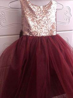 48bc69232c Salina Dress- Sequin Rose gold burgandy flower girl dress tulle skirt  formal rose sequin dress sizes 6m to 12 plum maroon cranberry
