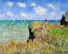 """Clifftop Walk at Pourville"" ・ by Claude Monet ・ Completion Date: 1882 ・ Style: Impressionism ・ Genre: landscape"