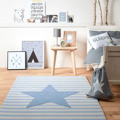 Belly Button My little Star Rugs 4214 04 in Blue Yellow Rug, Orange Rugs, White Rug, Pink Rug, Beige, Childrens Rugs, Printed Curtains, Gold Rug, Quartos