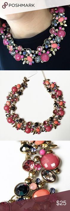 """NWT NY&Co Pink & Gold Statement Necklace This necklace is such a beauty! Set in an antique gold, there are so many gorgeous pinks, grays, oranges and purple stones on this necklace. Very hard to measure since it doesn't straighten but I would say it's about 17"""" long with a 3"""" extender that can make it up to 20"""" long. Questions? Please ask! Sorry, no trades. Bundle for a discount! New York & Company Jewelry Necklaces"""