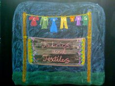 Waldorf ~ 3rd grade ~ Fibers & Clothing ~ Cover Page ~ chalkboard drawing