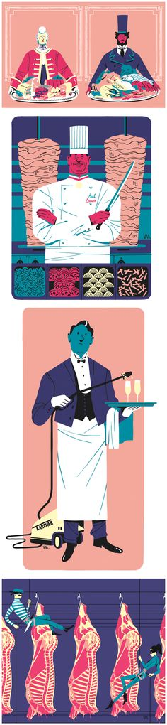 Food illustrations for 'Grand Seigneur' food magazine by Vincent Mahé