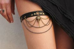 Black Leather Garter\Handmade garter\pirate by MAyleather on Etsy