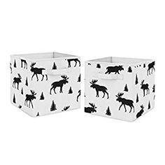 Perfect for your Baby and Nursery Sweet Jojo Designs Black and White Woodland Moose Organizer Storage Bins for Rustic Patch Collection – Set of 2,Sweet Jojo Designs Black and White Woodland Moose Organizer Storage Bins for Rustic Patch Collection - Set of 2, Set of 2 Storage Bins - 11 x 10 .5 x 10.5 each Features a black and white moose print Spot clean only,...