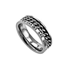 "Women's Freedom Ring   	                       Petite high-polished stainless steel Christian ring with chain center that spins.  Width is 5mm.     	                       Band reads: ""My Chains Are Gone, I've Been Set Free - Amazing Grace"""