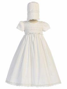 White Cotton Smocked Gown