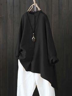 Women Retro Button Long Sleeve Asymmetric Shirt Blouse at Banggood Pretty Outfits, Cool Outfits, Casual Outfits, Hijab Fashion, Boho Fashion, Fashion Outfits, Indian Men Fashion, Shirt Blouses, Shirts