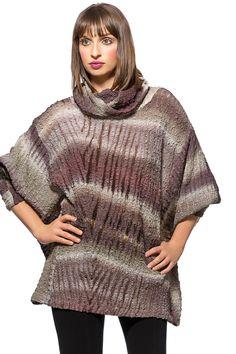 Stretchy silk pullover sweater, handpainted shibori.