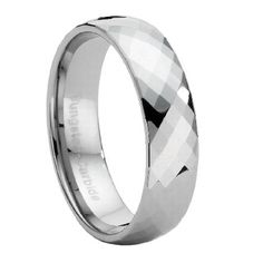Comfort-fit Tungsten Wedding Ring with Faceted Polished Finish