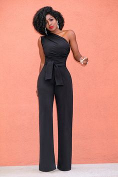 Stigende Ladies Summer Sleeveless Jumpsuits for Women One Shoulder Jumpsuit Sexy Backless Slash Neck Wide Leg Pants Jumpsuit Bodycon Jumpsuit, Casual Jumpsuit, Fitted Jumpsuit, Halter Jumpsuit, Elegant Jumpsuit, Black Jumpsuit, Rompers Women, Jumpsuits For Women, Look Fashion