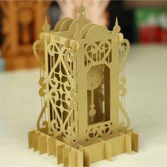 New Design Gold Iridescent Paper Clock Pendulum Paper Sculpture Model DIY Handcraft 3D Creative Folding Paper Model