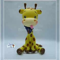 Aplique para vela, girafa com 12 cm Fondant Giraffe, Fondant Animals, Polymer Clay Projects, Polymer Clay Art, Giraffe Crafts, Safari, Cake Topper Tutorial, Fondant Cake Toppers, Baby Fairy