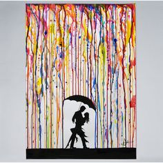 Beautify your indoors with The Stupell Home Decor Collection Melting Colors Rainbow Rain Drops Umbrella Dancing Silhouette by Marc Allante Wood Wall Art. Wood Wall Art, Framed Wall Art, Wall Décor, Canvas Artwork, Canvas Prints, Creation Art, Art En Ligne, Art Mural, Art Plastique