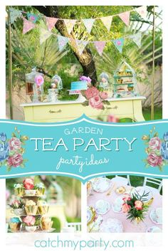 swoon over this delightful vintage tea party birthday the dresser dessert table is wonderful - Garden Party Ideas
