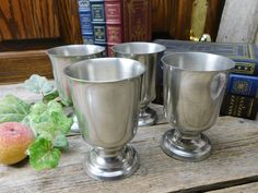 Set of 4 Vintage Woodbury Pewter Goblets by allthatsvintage56 on Etsy