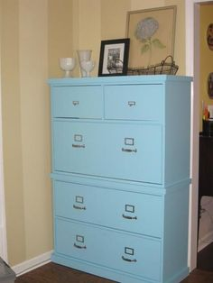 Rolling DIY craft table/cabinet from old file cabinets... LOVE ...