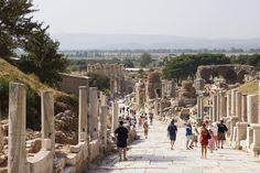 Tourists strolling down Curetes Way.