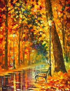 Lonely Bench — ORIGINAL Oil Painting On Canvas By Leonid Afremov  #Impressionism
