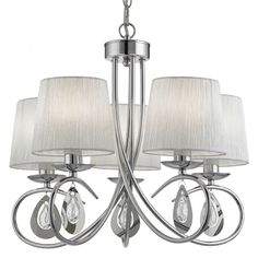 This Angelique Chrome 5 Light Ceiling Fitting with Glass Pear Drop Decoration and White Ruffled Shades is both classic and modern. Elaborate curved hoops finished in polished chrome spill out from the central column, to support the five hand-ruffled, plea Chandelier, Fabric Shades, Kitchen Chandelier, Pleated Shade, Pendant Light Fitting, Candle Lamps, Chandelier Shades, Bedroom Ceiling Light, Ceiling Lights
