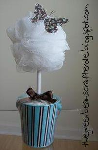 bath scrubbie topiary with bath confetti filled bucket....