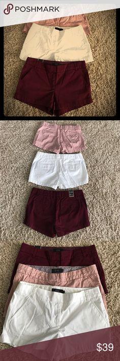 J. Crew chino shorts bundle 3 pair: white, burgundy and mauve. All size 10 J. Crew chino shorts. J. Crew Shorts
