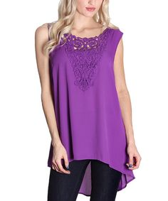 This Purple Lace-Front Hi-Low Tank by Flawless is perfect! #zulilyfinds