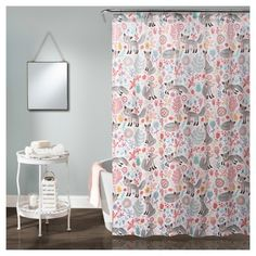 Pixie Fox Shower Curtain Gray & Pink - Lush Decor : Target