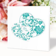 #Hochzeitseinladung Herzenssache türkis: https://www.meine-hochzeitsdeko.de/hochzeitseinladung-herzenssache-tuerkis
