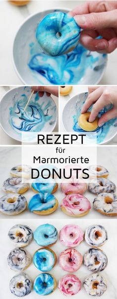 Recipe: Bake mini donuts and decorate with marble pattern. The marbled mini donuts are the hit for your next donut party! Recipe: Bake mini donuts and decorate with marble pattern. The marbled mini donuts are the hit for your next donut party! Mini Donuts, Donuts Donuts, Baked Donuts, Donut Party, Easy Party Food, Diy Food, Diy Party, Food Food, Party Ideas