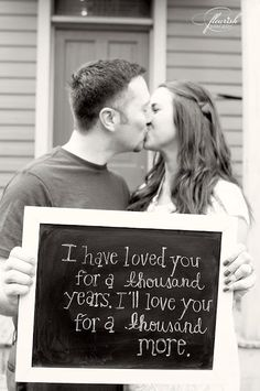 Such a sweet engagement photo...love this song! It makes me think of my wedding <3