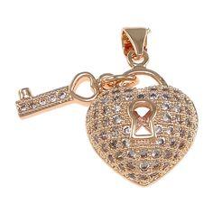 Shining Cubic Zircon Micro Pave Pendant #cz #micropave #pendants #charms #heart #key