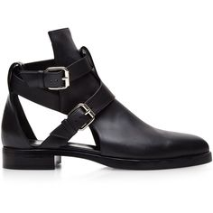 Pierre Hardy Buckled Cut-Out Boots (17 000 ZAR) ❤ liked on Polyvore featuring shoes, boots, flats, zapatos, black, black low heel boots, flat shoes, low heel boots, black flats and black leather shoes