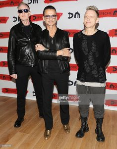 Depeche Mode attend a photocall to launch the Global Spirit Tour on October 11, 2016 in Milan, Italy.