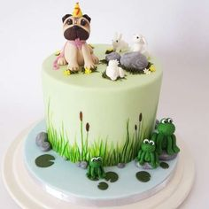 Pug and pond life birthday cake | Pretty Witty Cakes